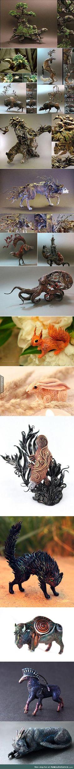 Mystical handmade animal sculptures