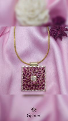 Ruby & Diamond Pendant - Scarlet Splendour Ruby & Diamond Pendant in Gold – Gehna # - Ruby Pendant, Pendant Set, Diamond Pendant, Gold Earrings Designs, Gold Jewellery Design, Diamond Jewellery, Ruby Jewelry, Wedding Jewelry, Gold Jewelry
