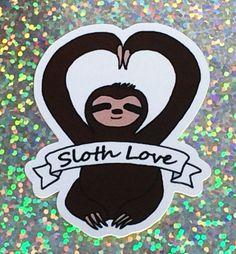 Sloth Love Sticker, Original art work Sticker, Laptop Sticker, Phone Case Sticker