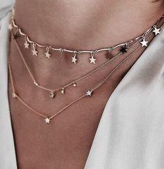 layered stars necklace. #jewelry