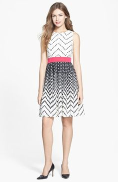 Eliza J Dot Print Crêpe de Chine Fit & Flare Dress (Regular & Petite) available at #Nordstrom