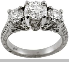 #engagement #ring #white #gold #diamond #tri #stone #Wedding