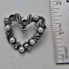 Vintage Brass Silver Heart With Pearls by oscarcrow on Etsy