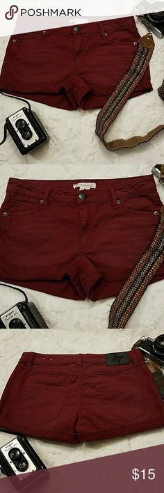 "🌻BCBGeneration Soft denim Burgundy cuffed shorts SUPER trendy Burgundy Cuffed shorts in great condition Size 26, Size 6 US waist 15"" inseam a little over 8"" BCBGeneration Shorts Jean Shorts"