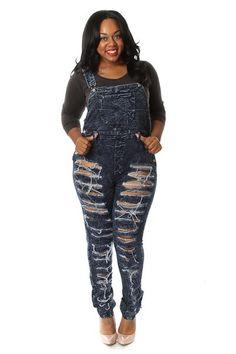 Lavo Plus Size Denim Overalls Jumpsuit Distressed Skinny Leg Dark ...