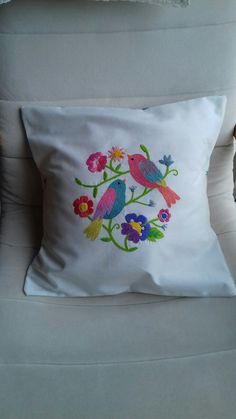 Throw Pillows, Embroidery, Stitch, Flowers, Crafts, Toss Pillows, Needlepoint, Full Stop, Manualidades
