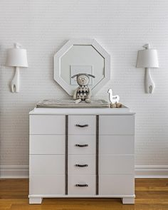Nursery Dresser and Changing Table with Leather Hardware - Contemporary - nursery - Sissy and Marley Elephant Wallpaper, Nursery Wallpaper, Gray Wallpaper, Kids Wallpaper, Central Park, Baby Elephant Walk, Giraffe, White Changing Table, Changing Tables