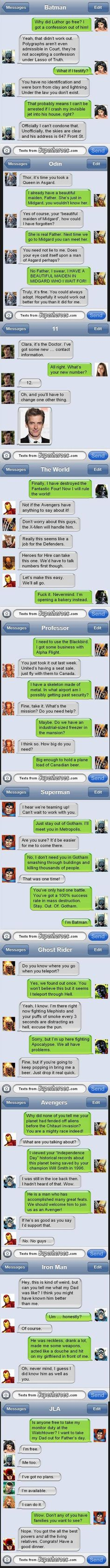 Texts From Superheroes (marvel, DC, and The Doctor included) Marvel Vs, Marvel Dc Comics, Marvel Jokes, Superhero Texts, Nananana Batman, Dc Memes, Funny Texts, Epic Texts, Marvel Universe