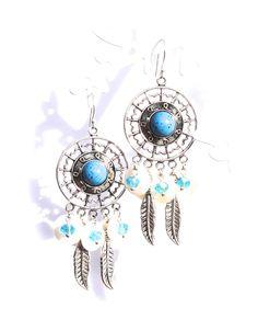 Boucles d'oreilles fantaisie style indien sur crochets en argent : Boucles d'oreille par lizou-sen-fout