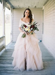 Rosy colored wedding dress