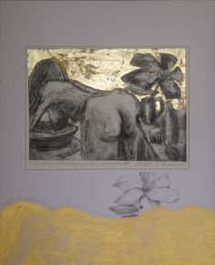 Femeie spalandu-si parul.gravura metal.1999