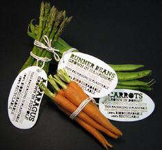 Superb idea, supermarket vegetable packaging helps you grow your own. The labels are embedded with seeds so you can start your own garden at home.