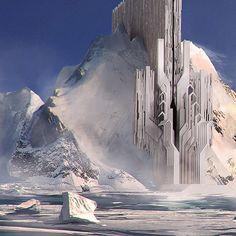 Viking refugees on Behance Space Fantasy, Fantasy City, Sci Fi Fantasy, Fantasy World, Futuristic City, Futuristic Design, Futuristic Architecture, Art And Architecture, Landscape Concept