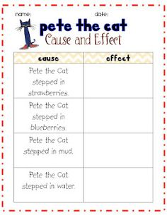 Cause and Effect:Pete the Cat-I Love My White Shoes TPRI