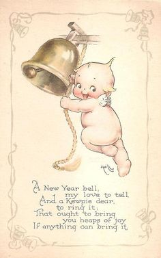 The little Kewpie on my postcard is ringing in the New Year. The postcard is signed by Rose O'Neill and is postmarked The Kewpie te. Vintage Greeting Cards, Vintage Postcards, Vintage Images, Vintage Happy New Year, Vintage Holiday, Cupie Dolls, Kewpie Doll, New Year Pictures, New Year Greetings