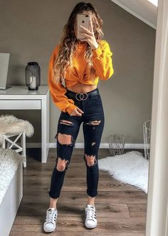 young girl wearing blue ripped jeans, yellow sweatshirt and white . - young girl wearing blue ripped jeans, yellow sweatshirt and white sneakers – - Teen Fashion Outfits, Outfits For Teens, Fall Outfits, Fashion Ideas, Trendy Clothes For Teens, Teen School Outfits, Clothes For Girls, White Girl Outfits, Spring Outfits For Teen Girls
