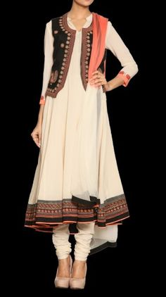 Anarkali Classic Suit with tie dye dupatta and jacket Pakistani Outfits, Indian Outfits, Indian Clothes, Indian Attire, Indian Wear, Ritu Kumar, Desi Wear, Classic Suit, Nice Dresses