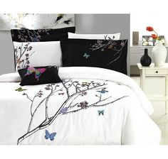 Butterfly Garden 7 Piece Embroidered Duvet Cover Set
