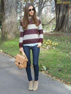 Sweater + denim shirt + skinny jeans + boots + sunnies.