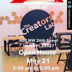 #Repost @thelab4creators with @repostapp.  Join us. The Creators Lab Open House. May 21 2:00 pm to 5:00 pm 400 NW 26th Street Miami FL 331327. For more please visit thecreatorslab.com . . . #design #miami #art #3dprinting #creators #makersgonnamake #fabrication #wynwood by skullthink