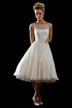 vintage tea length wedding dresses - vow renewal