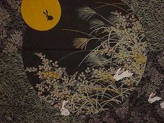 Black Rabbit In the Moon . Kyoto Collection . Furoshiki - traditional Japanese wrapping cloth . etsy.com