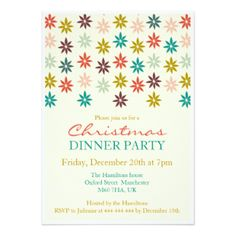 Modern and colorful Christmas Dinner Party Invitation template, decorations, gift tags, greeting cards, stickers and much more.