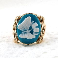 White Butterfly Cameo Ring 14K Rolled Gold Jewelry Any Size Turquoise