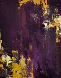 Plum and Yellow Original Abstract Painting 12x9 por AbstractArtM