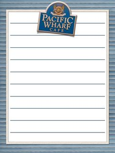 """Pacific Wharf Cafe - California Adventure - Project Life Journal Card - Scrapbooking ~~~~~~~~~ Size: 3x4"""" @ 300 dpi. This card is **Personal use only - NOT for sale/resale** Logo/clipart belong to Disney. *** Click through to photobucket for more versions of this card ***"""