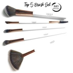 Brush up on your makeup skills with our•Top 5 Brush Set• Includes:  Angled Contour Brush:The rounded angle shape is perfect for defining the cheek bones with bronzer or blush. Winged Liner Brush: A double-ended brush which allows you to line and define your eyeliner and brows; as well as brush your brows into shap #PracticalHairstyles