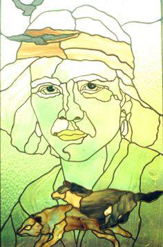 navajo boy stained glass portrait by cheryl kumiski.