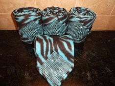 Custom set of 4 Zebra Stripe Chocolate and Teal Bling Horse Size Polo Wraps!  Awesome!!