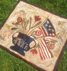Primitive Style Patriotic Hand-Hooked Wool Rug by ThePumpkinHouse on Etsy https://www.etsy.com/listing/239133059/primitive-style-patriotic-hand-hooked