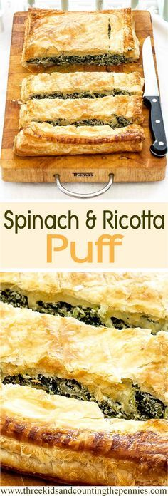 And Ricotta Puff A tasty vegetarian option for your holiday buffet table that even meat-lovers won't be able to resist.A tasty vegetarian option for your holiday buffet table that even meat-lovers won't be able to resist. Tasty Vegetarian, Vegetarian Options, Vegetarian Buffet, Vegetarian Casserole, Vegetarian Entrees, Puff Recipe, Puff Pastry Recipes, Recipe Tasty, Spinach Recipes