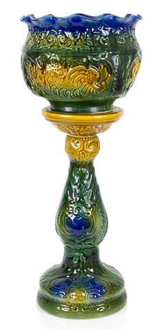 victorian majolica pedestaljardinire - Faience Colore