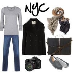 """""""NYC Walking Travel Outfit"""" by amandaingle on Polyvore"""