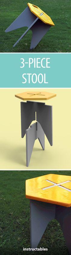 3-Piece Stool #woodworking #furniture #CNC