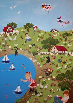 Aviva Sonsino - Lake Naive Art, Artist Gallery, Artist Painting, Israel, Folk Art, Illustration, Abstract, Galleries, Collection