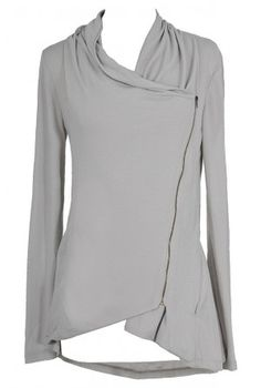 Tin Roof Crossover Cardigan in Silver Grey 42