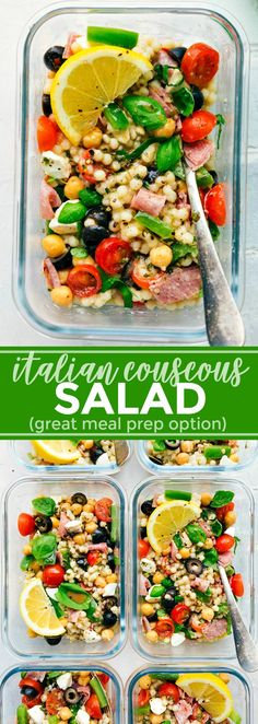 A healthy and simple Italian Couscous Salad that everyone will go crazy for! (Meal prep options and tips included) via chelseasmessyapron.com | #couscous #italian #salad #easy #quick #healthy #mealprep