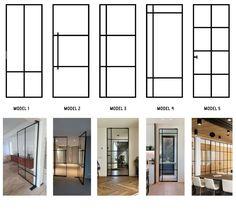 Home Room Design, Interior Design Living Room, Steel Doors And Windows, Glass Room Divider, Plafond Design, Kitchen Doors, Office Interiors, House Rooms, Door Design