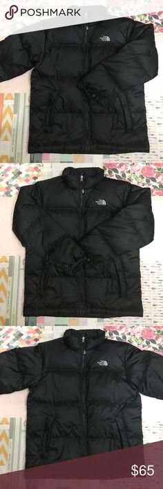 The North Face Puffy Down Jacket The North Face Puffy Down Jacket. No hood. No stags, perfect condition. Size large / 14/16. Two very very small spots on the back but barely noticeable at all (see picture very closely). Great condition and very gently used. Similar to a ladies small. Make an offer or bundle for savings!! The North Face Jackets & Coats Puffers