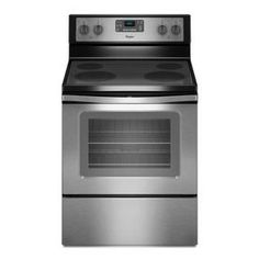 Whirlpool Smooth Surface Freestanding 5.3-cu ft Self-Cleaning Electric Range (Black-On-Stainless) (Common: 30-in; Actual: 29.87-in)