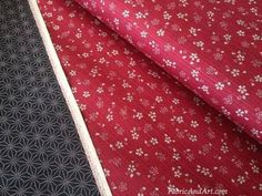 Double Sided Print~Red Cherry Blossom/ Black Sashiko Star