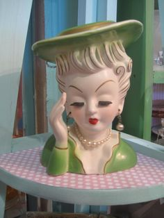 Vintage Tilso  Head Vase Green Girl Japan by scrappyjessi on Etsy, $50.00