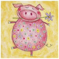 Girls cards and invitations Hipster Drawings, Easy Drawings, Pig Art, Happy Paintings, Cute Pigs, Happy Animals, Paper Roses, Whimsical Art, Animal Paintings