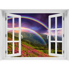 Window Wall Mural Rainbow over the flowers Peel and Stick