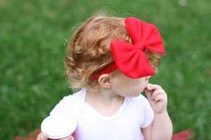 Big Red Bow Headband Red Baby Bow Headband by MamaPeacockBabyOwl