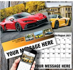 2021 Spanish-English Bilingual Exotic Cars Wall Calendars - low as Advertise your Business Name, Logo & Ad Message in the homes and offices of people in your area! Calendar App, Print Calendar, Promotional Calendars, Wall Calendars, Us Holidays, Free Advertising, Car Images, Performance Cars, Business Names